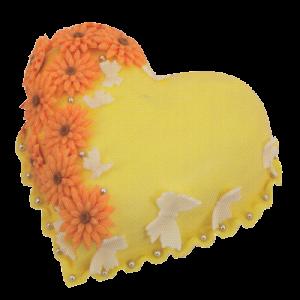 Srdce žluté - kytky