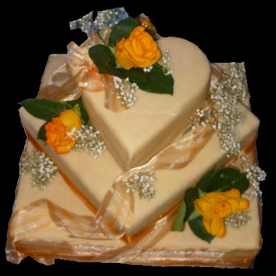 svatební dort 3patra zlatý